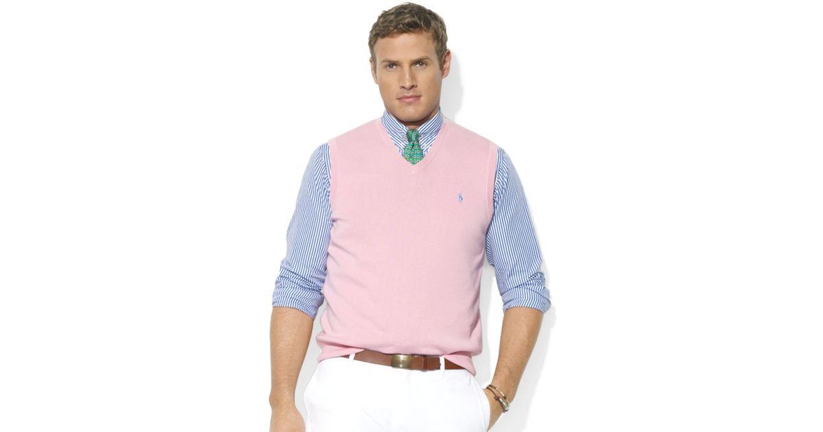 Lyst Ralph Lauren V Neck Pima Cotton Sweater Vest In Pink For Men