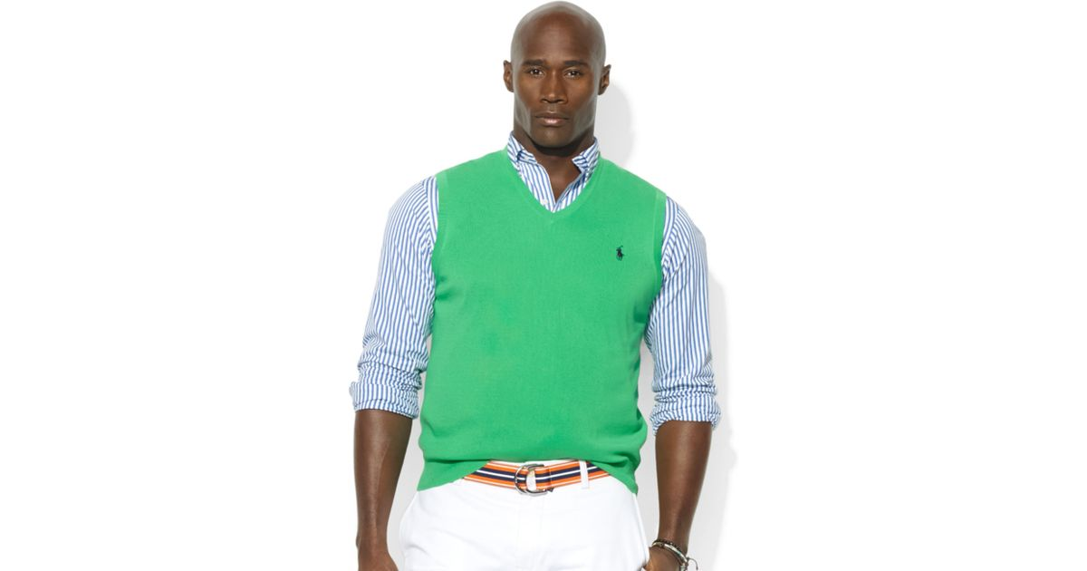 Ralph lauren Vneck Pima Cotton Sweater Vest in Green for Men | Lyst