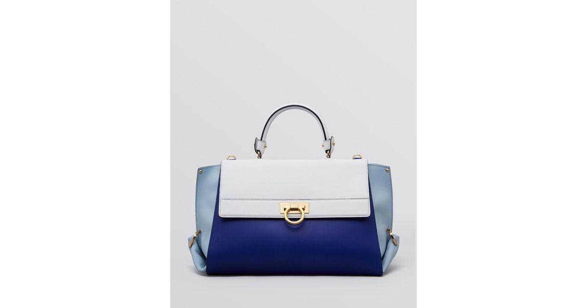 Lyst - Ferragamo Satchel Sofia Colorblock in Blue 17e9be5961033
