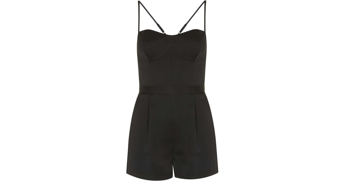 cfee9fdf7f3b Lyst - TOPSHOP Petite Satin Strappy Playsuit in Black