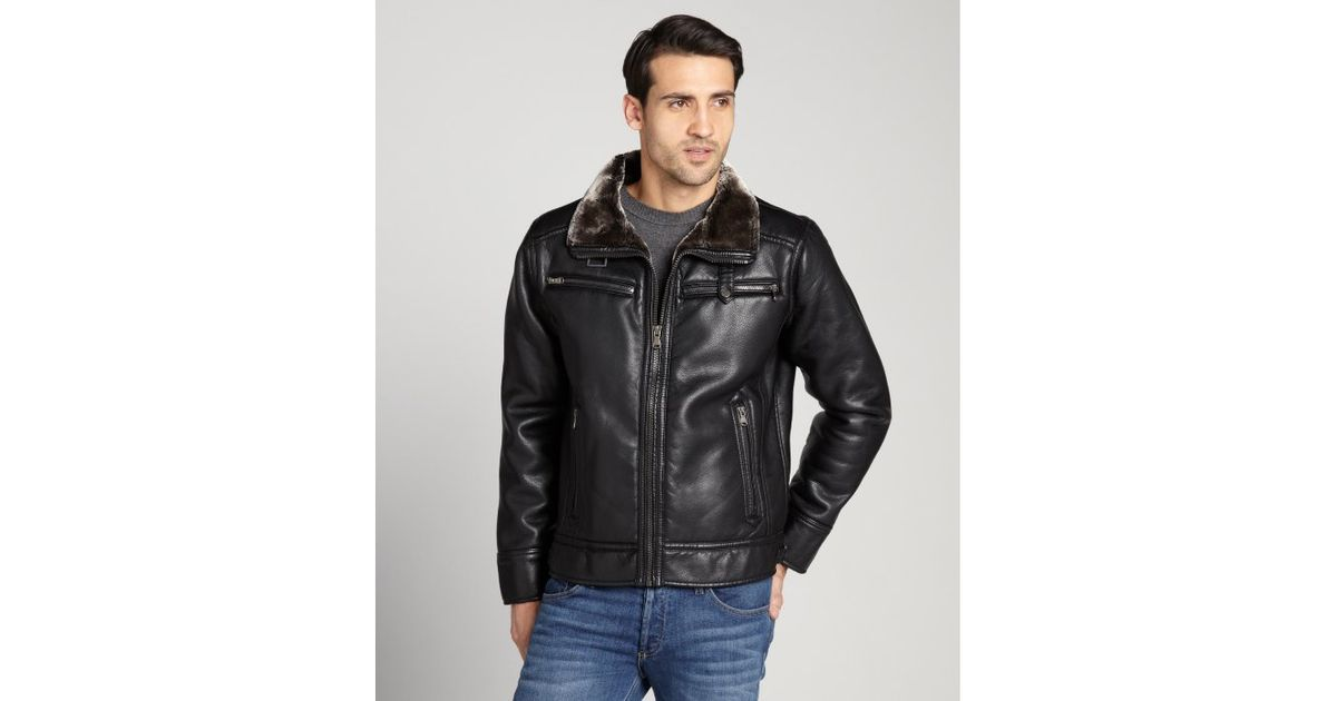Calvin Klein Black Faux Leather And Faux Fur Lined