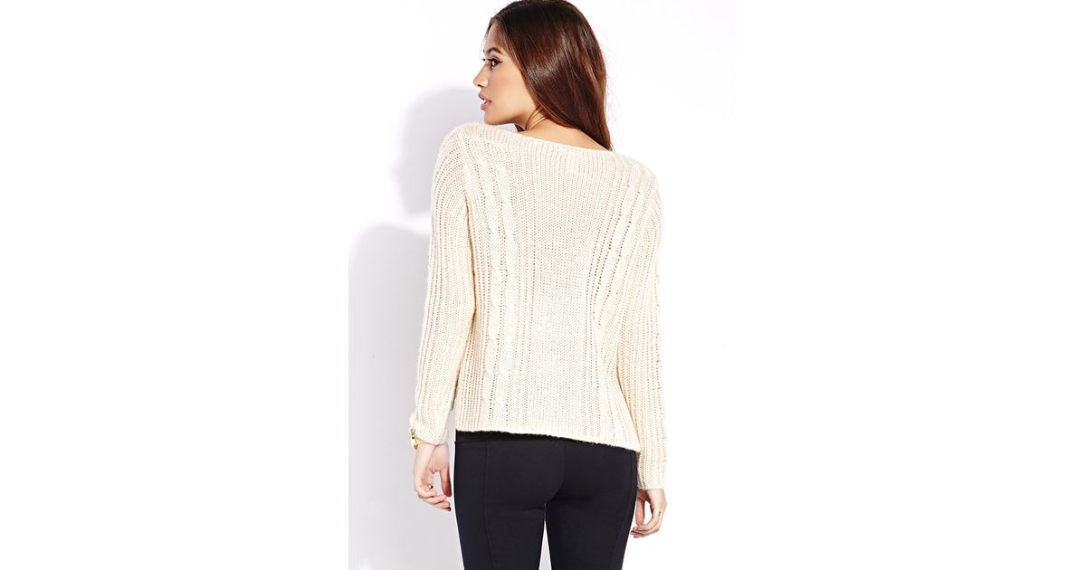 Lyst Forever 21 Fuzzy Cable Knit Sweater In Natural