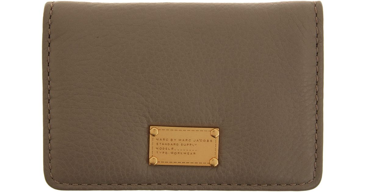 Lyst marc by marc jacobs taupe classic q business card holder in lyst marc by marc jacobs taupe classic q business card holder in natural colourmoves