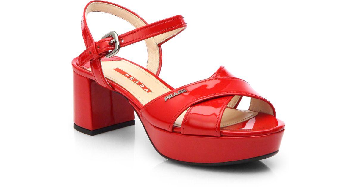11f9f2e0f24 Lyst - Prada Patent Leather Crisscross Platform Sandals in Red