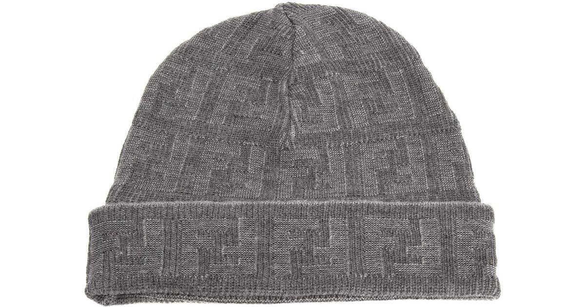 Lyst - Fendi Jacquard Monogram Hat in Gray for Men f855b721780