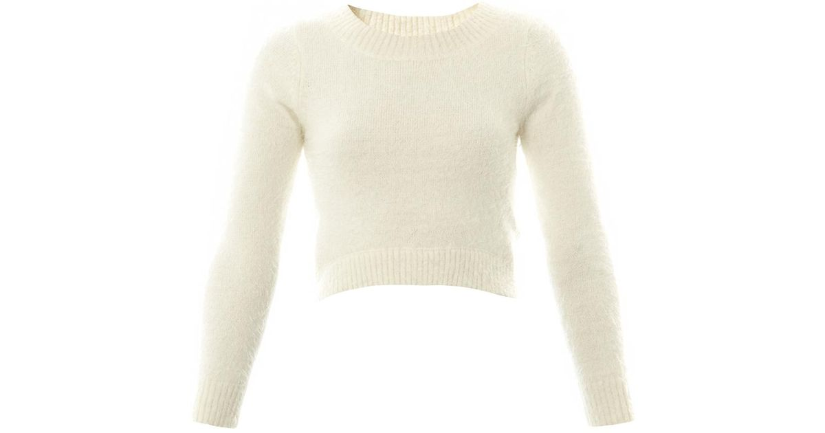 Jonathan simkhai Cropped Cashmere Sweater in White | Lyst