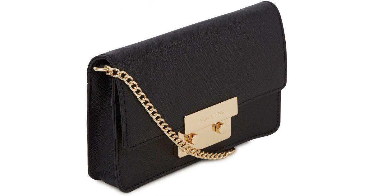 00e6b42522f7 ... usa michael kors sloan saffiano leather crossbody bag in black lyst  54b75 8f4ee ...