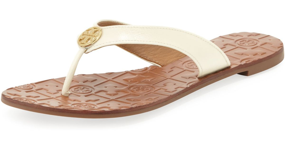 004257752bf Lyst - Tory Burch Thora 2 Patent Thong Sandal Bleach in Brown