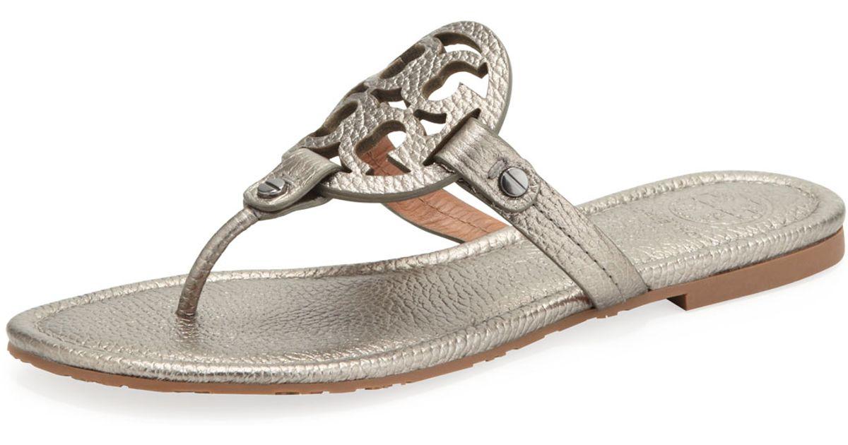 cfcc9e1a43b6 ... best lyst tory burch miller metallic logo thong sandal in gray 042e6  7250b ...