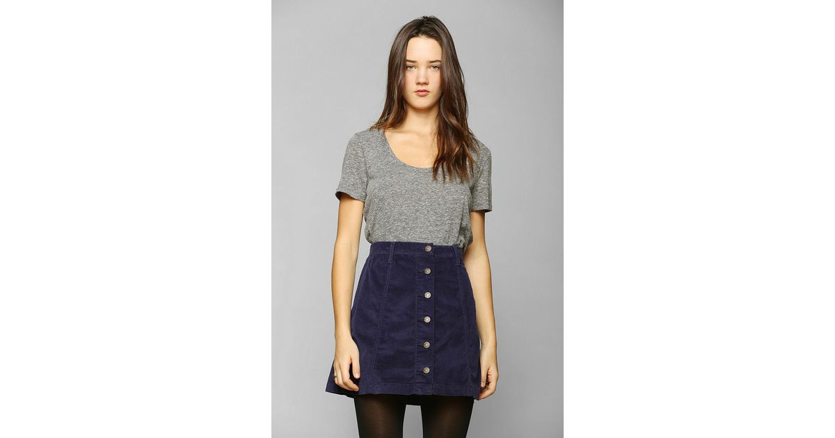 7041b985e Urban Outfitters Bdg Buttonfront Corduroy Aline Skirt in Blue - Lyst