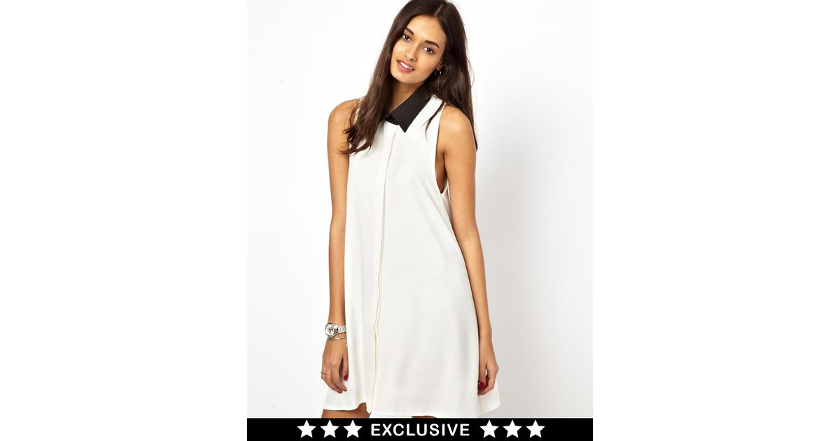 0548d71bbb666 Lyst - Glamorous Sleeveless Swing Shirt Dress with Contrast Collar in Gray