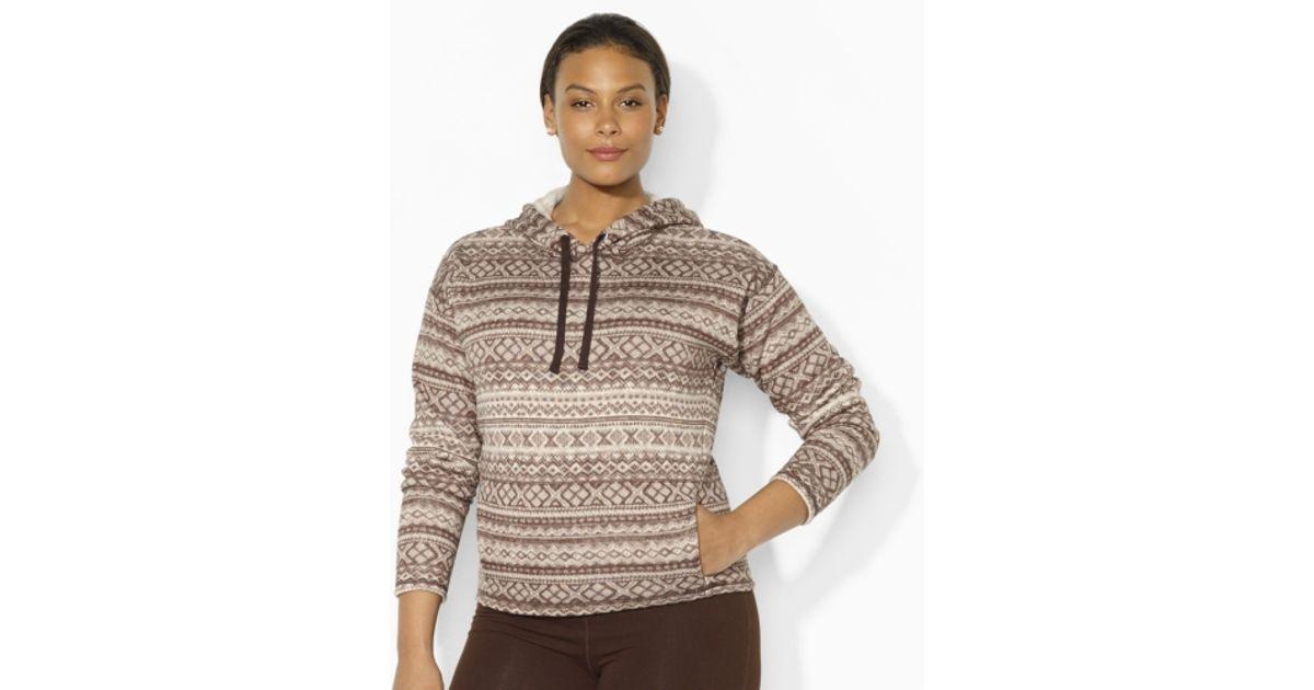 Lyst - Lauren By Ralph Lauren Fair Isle Fleece Hoodie in Brown