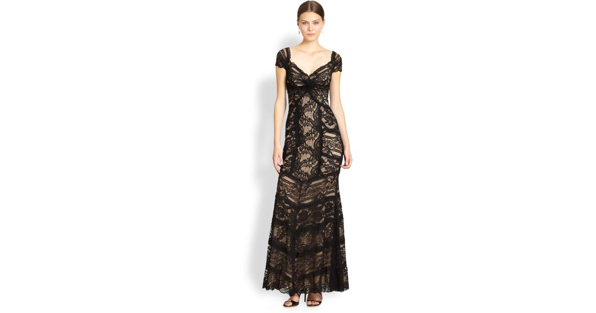 Lyst - Nicole Miller Lace Sweetheart Gown in Black