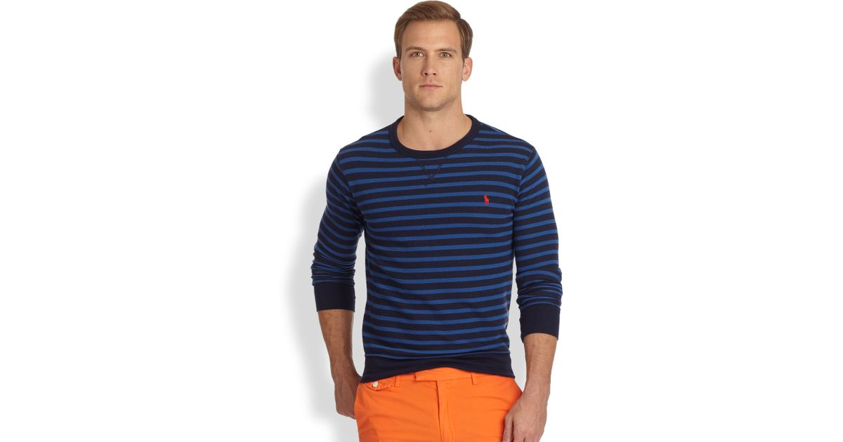 853d40f0b Polo Ralph Lauren Striped Atlantic Terry Crewneck Pullover in Blue for Men  - Lyst