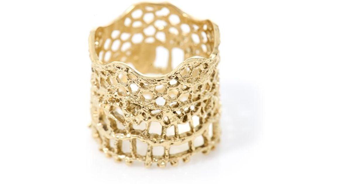 18kt yellow gold diamond vintage lace ring - Metallic Aur vDJEX8