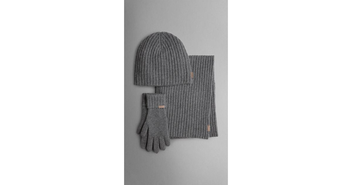 a1a44cdaacf ... sweden lyst burberry cashmere ribbed knit hat gloves and scarf set in  gray for men 5d902