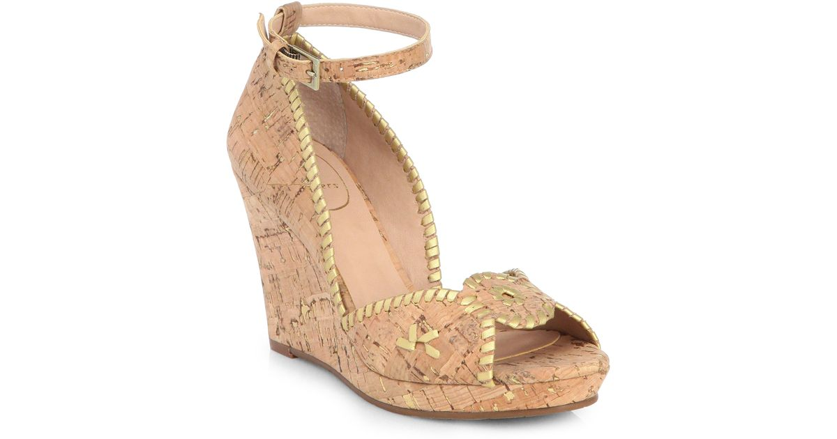 Jack Rogers Women's Lennon Leather & Cork Wedge Platform Sandals Free Shipping Newest Ctpigadc9I