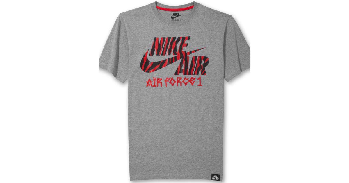 sale retailer 1faf5 dff0d Lyst - Nike Air Force 1 Animalprint Logo T-Shirt in Gray for