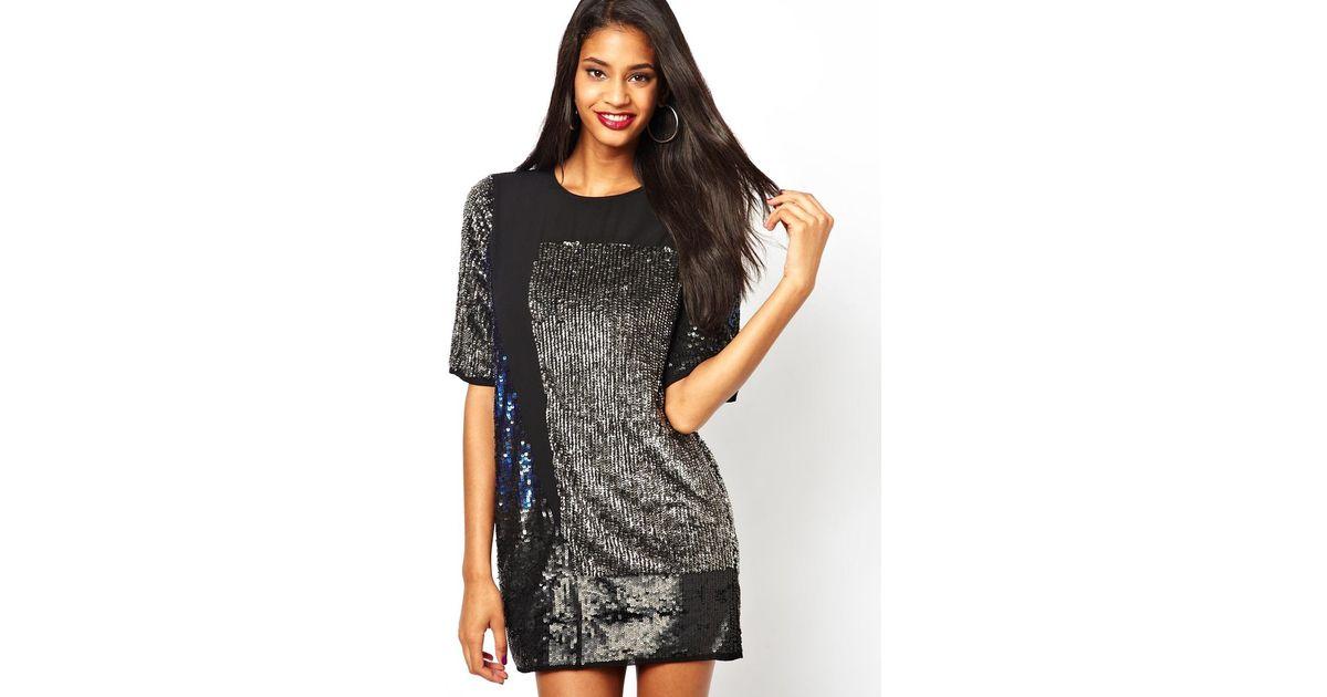 Black sequin shirt dress