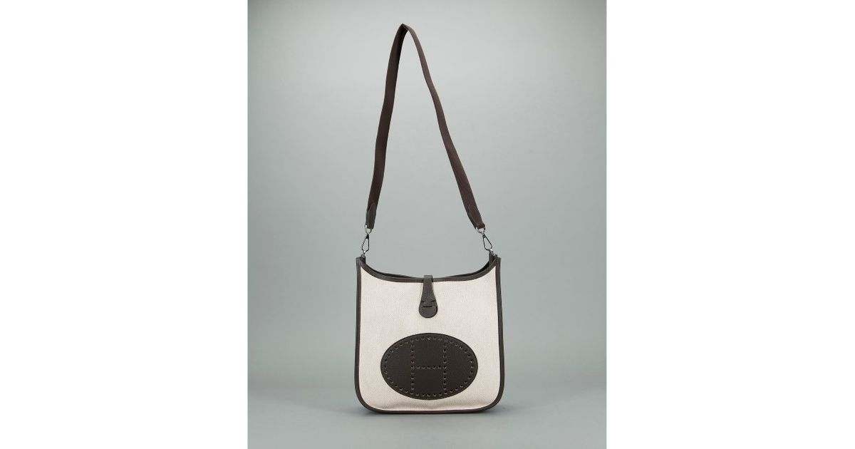 Herm¨¨s Preowned Ivory and Brown Toile Evelyne Ii Pm Bag in White ...