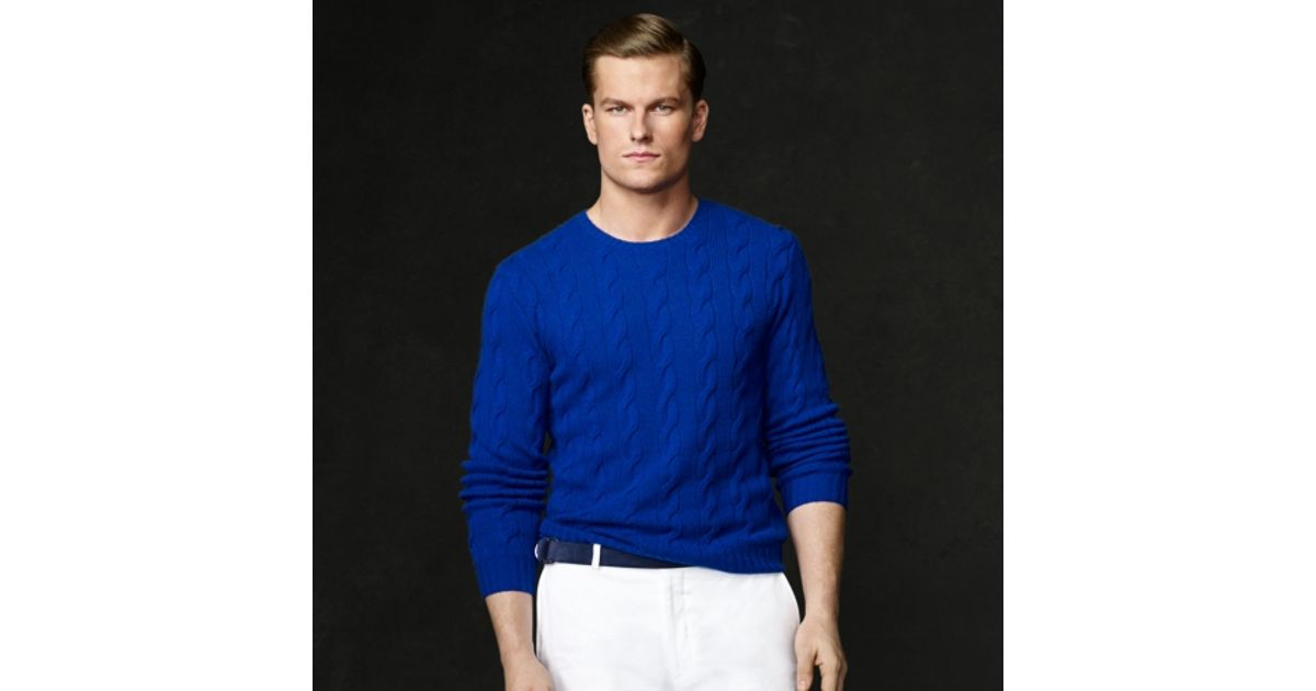 Ralph lauren purple label Cashmere Cableknit Sweater in Blue for ...