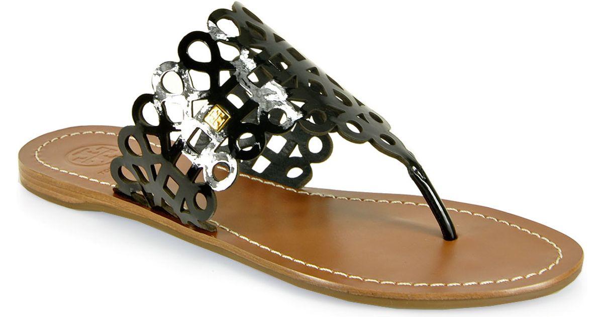 - Tory Burch Davy Flat Thong Sandal In Black Lyst