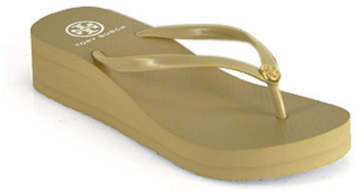 73cc08ec304c Lyst - Tory Burch Khaki Wedge Rubber Thong Sandal in Brown