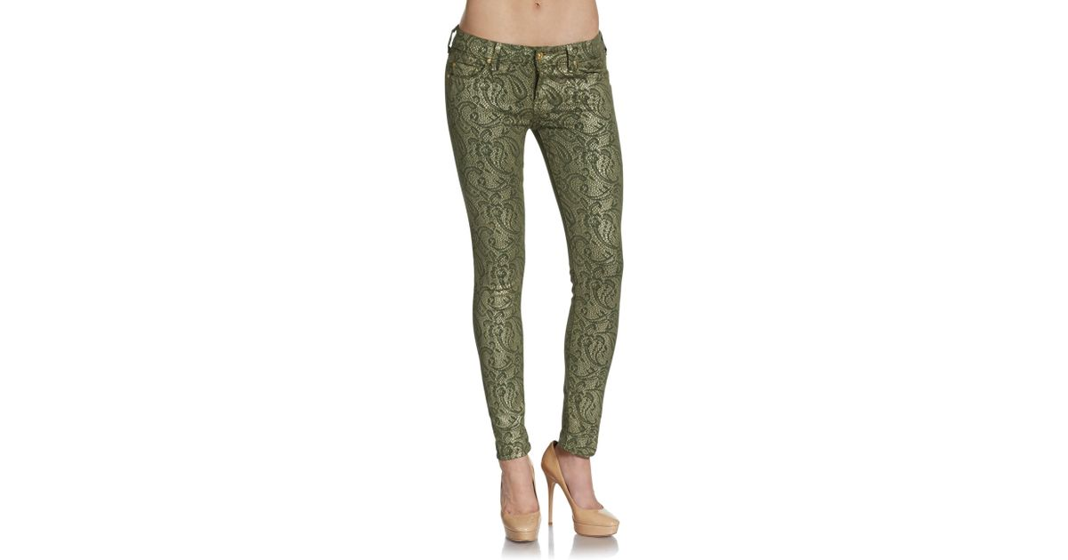 66e43e88b64 7 For All Mankind Paisley print Skinny Jeans in Green - Lyst