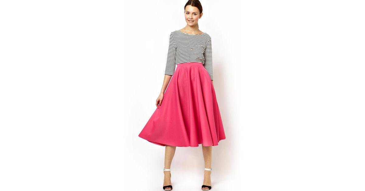 Asos Full Midi Skirt In Scuba in Pink | Lyst