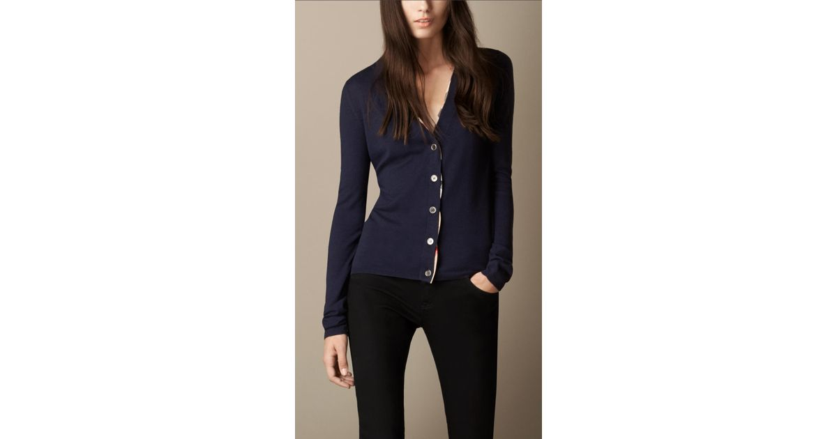 2e22284c60824 Lyst - Burberry Check Placket Merino Wool Cardigan in Blue