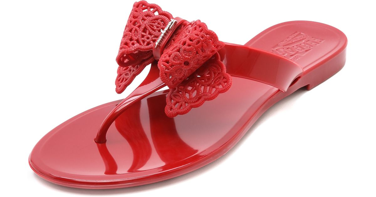 9f64c9047846 Lyst - Ferragamo Pandy Jelly Thong Sandals Rosso in Red