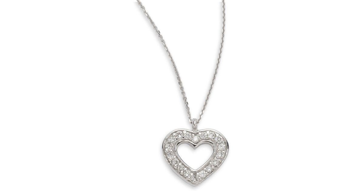 2e3bf623cda Lyst - KC Designs Diamond 14k White Gold Open Heart Pendant Necklace in  Metallic