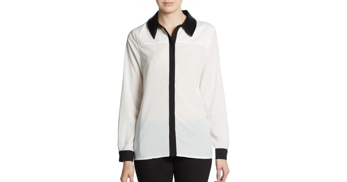 e636b8322cea6 Lyst - Saks Fifth Avenue Black Label Faux Leather Collar Blouse in White