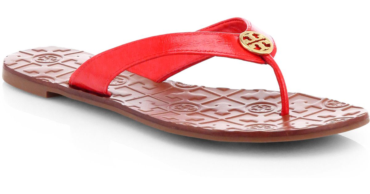 fadb71ae4b6e Lyst - Tory Burch Thora 2 Patent Leather Thong Sandals in Red