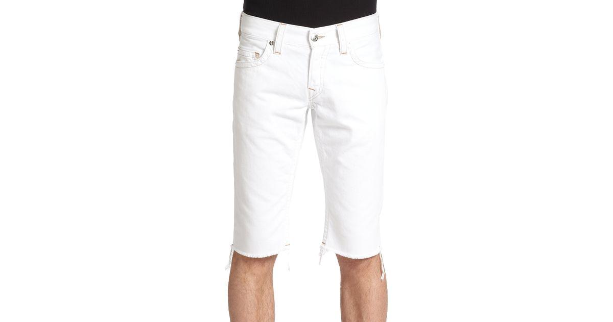 True religion Geno Cut Off Denim Shorts in White for Men | Lyst