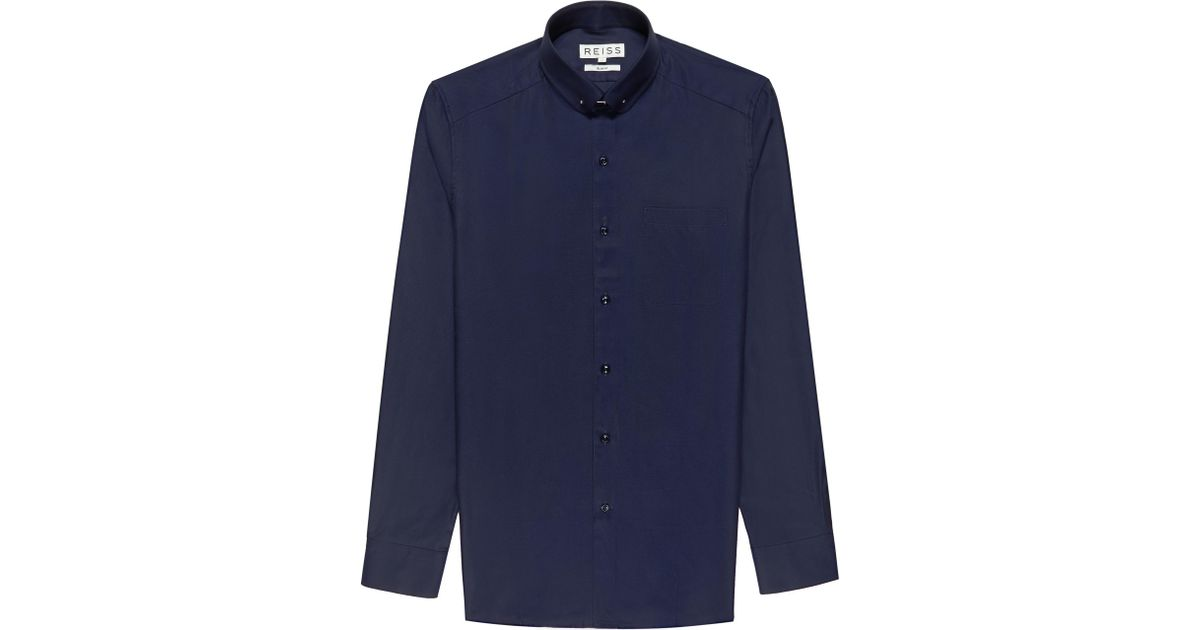 Reiss Keaton Shirt With Collar Bar In Blue For Men Lyst