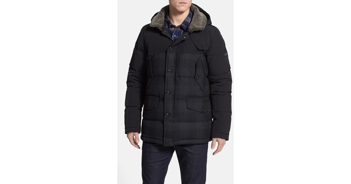 Woolrich Pocono Check Print Shearling Lined Down Parka in Gray for ...