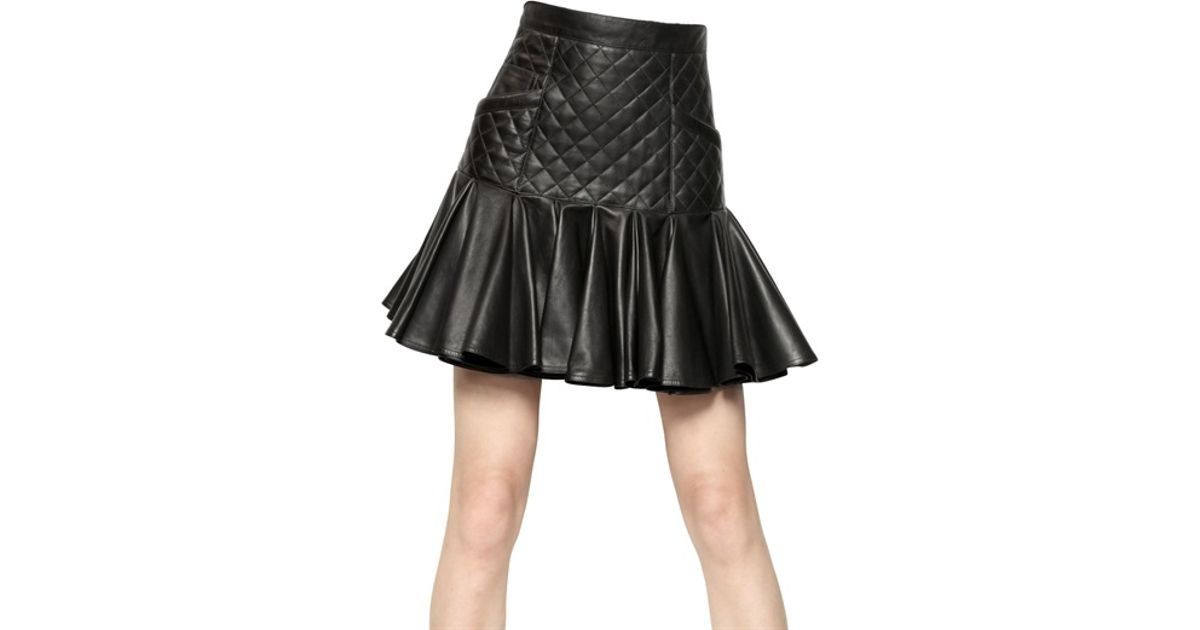balmain quilted nappa leather skirt in black lyst