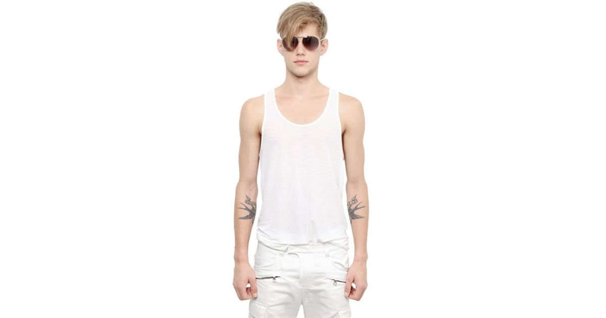 6aefbce80cba4b Lyst - Balmain Ribbed Cotton Jersey Tank Top in White for Men