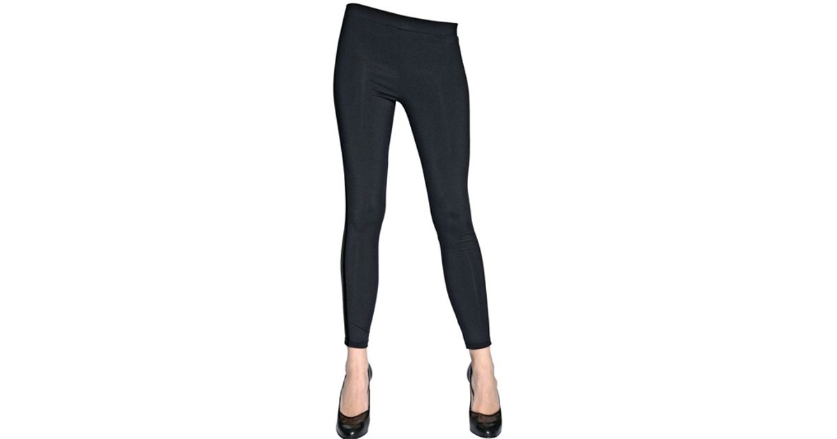 eaf1fc1bb93a3 Lyst - David Lerner Jersey Leggings with Faux Leather Stripe in Blue