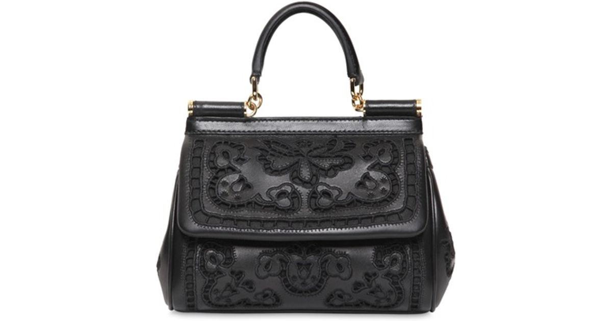 3ee26180790d Lyst - Dolce   Gabbana Small Miss Sicily Lambskin Top Handle in Black