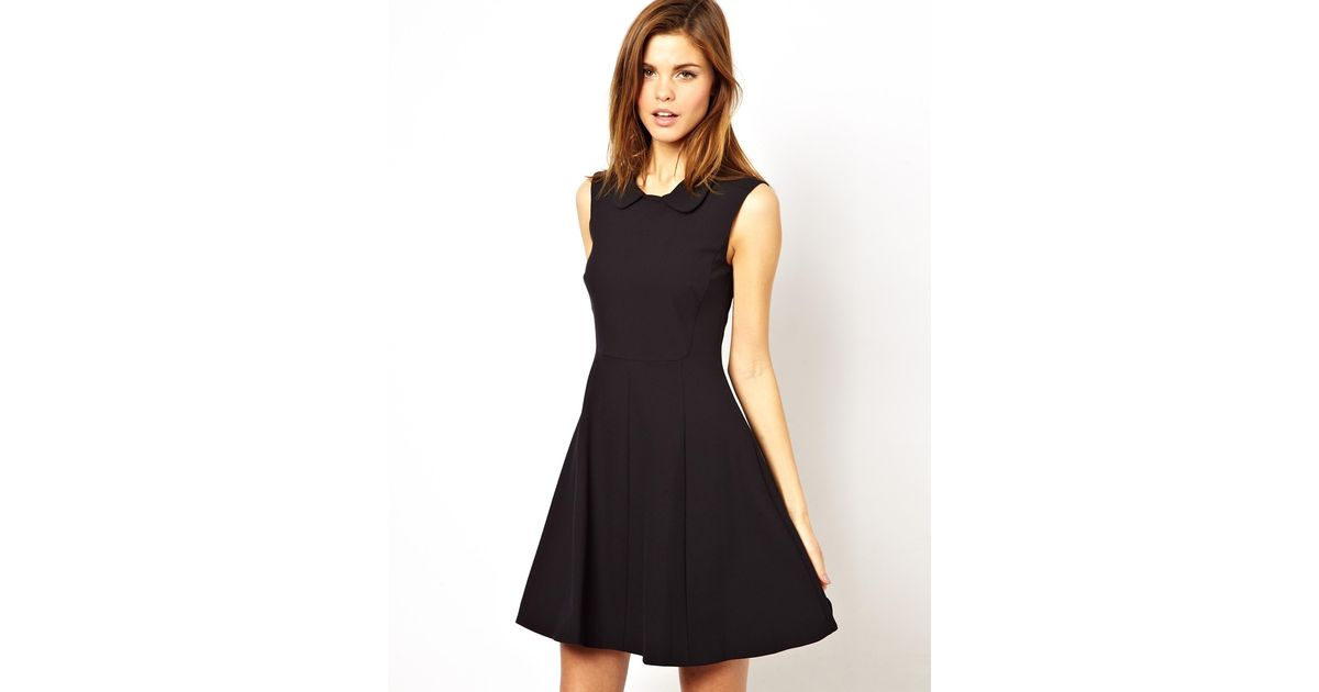 Lyst French Connection Dress With Peter Pan Collar In Black