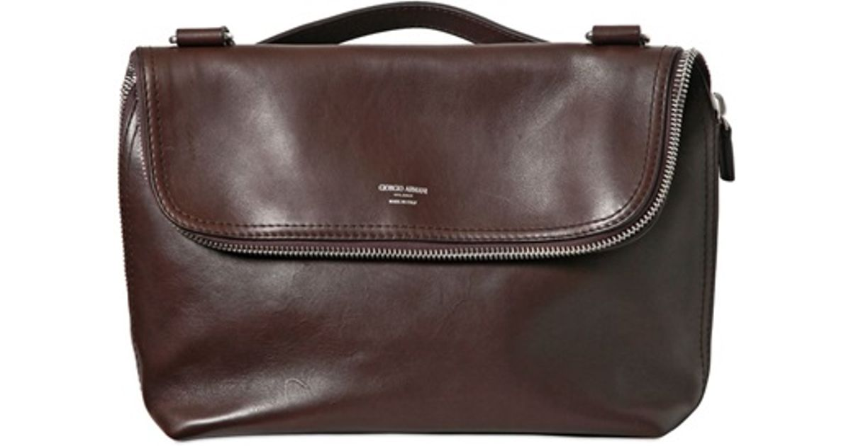 Lyst - Giorgio Armani Leather Messenger Bag in Brown for Men d58482f367151