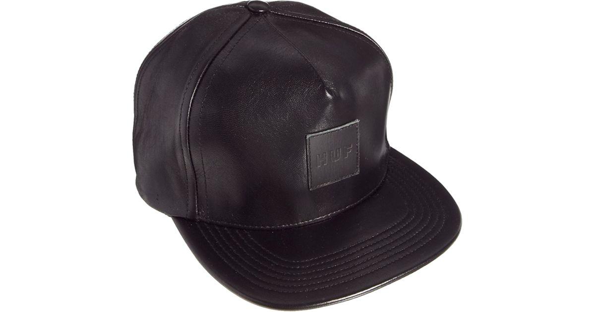8d6253e67bbd5 ... france lyst huf leather strapback cap in black for men 0ce29 3ca65