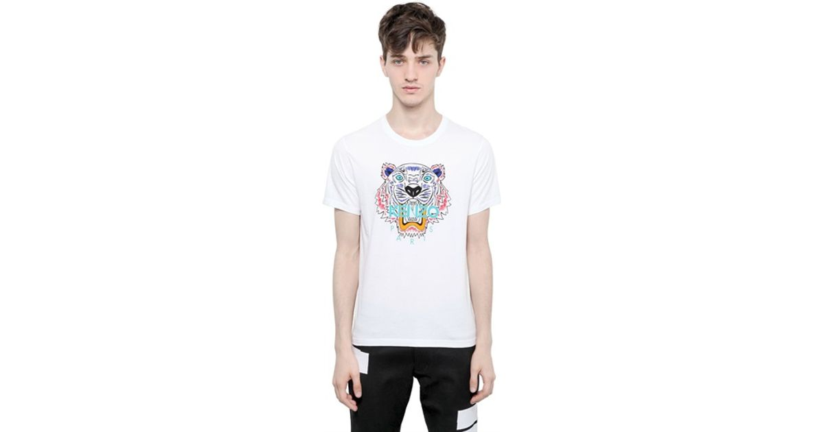 1ce81dd5 KENZO Tiger Printed Cotton Jersey Tshirt in White for Men - Lyst