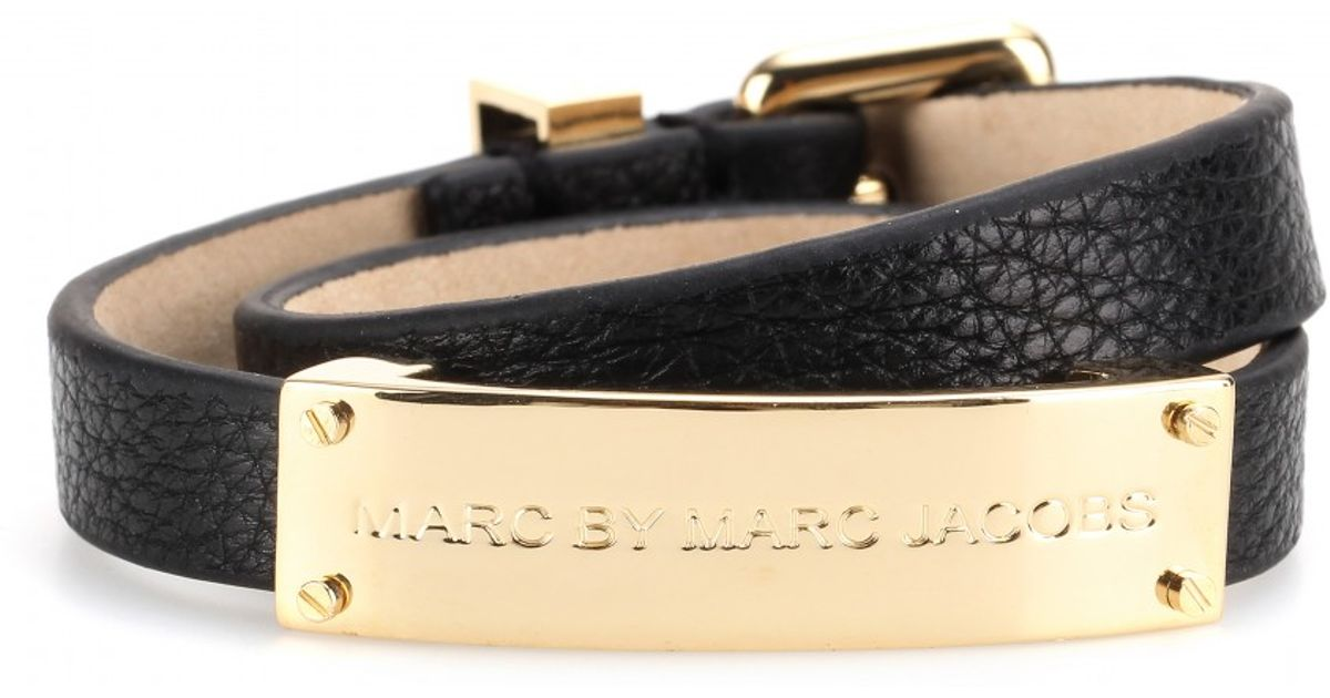 Lyst Marc By Jacobs New Plaque Double Wrap Leather Bracelet In Black