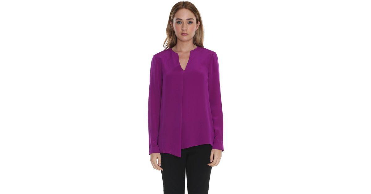 3370f871050f8b Tibi Silk Long Sleeve Blouse in Purple - Lyst