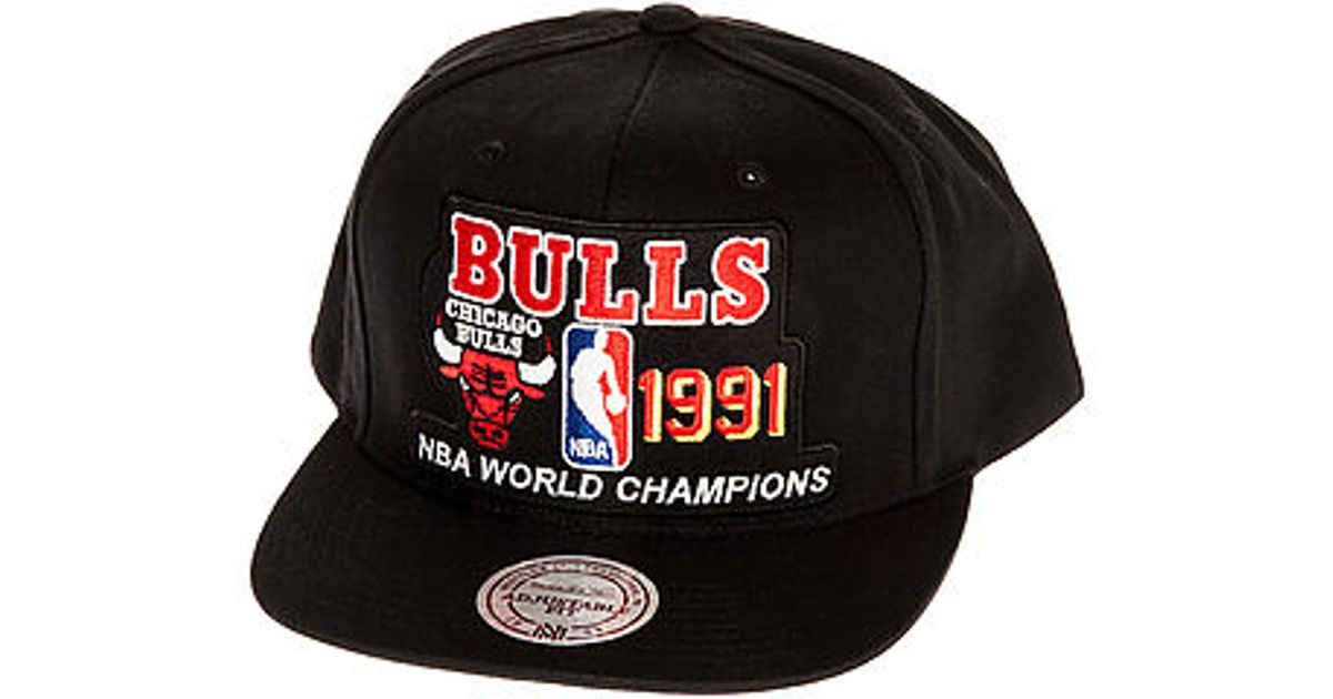 93d8f210e97 ... reduced lyst mitchell ness the chicago bulls champions snapback hat in  black for men 763de 1add9