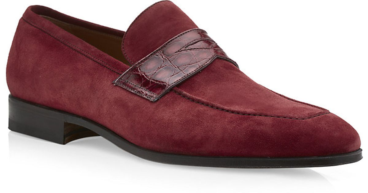 98290254162 Stemar Croc Saddle Suede Penny Loafer in Red for Men - Lyst