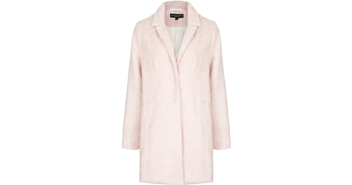 Topshop Petite Fluffy Wool Mix Coat in Pink | Lyst